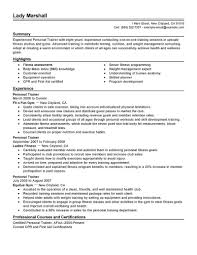 personal trainer resume best personal trainer resume exle livecareer