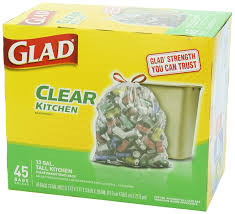 Green Kitchen Trash Can Amazon Com Glad Tall Kitchen Drawstring Clear Recycling Trash