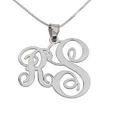 Sterling Silver Monogram Jewelry 2 Letters Silver Monogram Necklace Right
