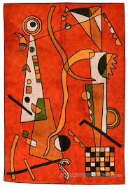 Miro 5ft X 7ft Wool by Kandinsky Red Silk Rug Airplane Wall Tapestry Hand Embroidered