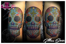 bright colours sugar skull by pinkinktattoostudio on deviantart