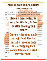 printable turkey talents family scavenger hunt instant