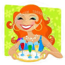 cartoon cocktail party hostess by ayelet keshet toon vectors eps