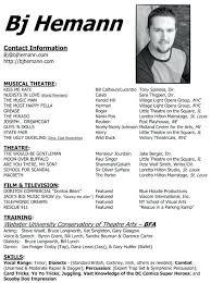 sample musical theatre resume theatre acting sample resume