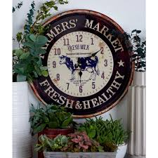 themed wall clock multi colored farmhouse themed wall clocks set of 2 52592 the