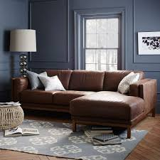 Sectional Leather Sofas With Chaise Dekalb Leather 2 Chaise Sectional West Elm