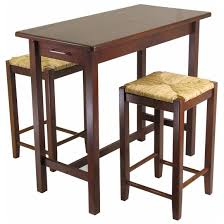 3 Pc Kitchen Table Sets by Winsome 3 Pc Kitchen Island Table With 2 Rush Seat Stools