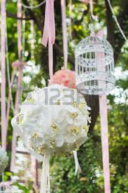 Bird Cage Decoration Bird Cage On The Apple Blossom Tree In Sunset Stock Photo