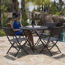 Wicker Patio 5pc Folding Table U0026 Chair Bistro Set Dining Rattan Wicker Outdoor