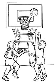 Basketball Player Coloring Pages Two Kids Playing Basketball In Basketball Color Page