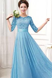 blue wedding dress kettymore women winter party dresses lace designed chiffon