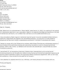 maintenance supervisor cover letter professional maintenance