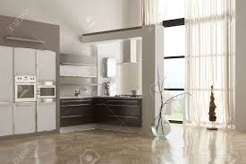 modern minimalist kitchen interior with built in appliances and