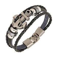 leather bracelet woven images Fashion jewelry anchor alloy leather bracelet men casual jpeg