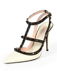 valentino rockstud color blocked leather sandals in white lyst