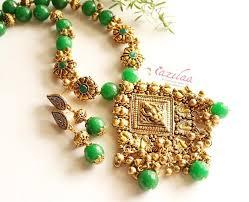 gemstone jewelry necklace images Laxmi statement green gemstone antique gold tone necklace set at jpg