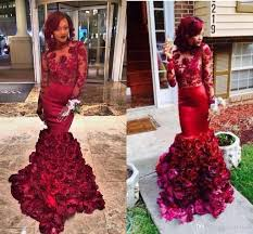 2016 beautiful red evening dress mermaid with rose floral ruffles