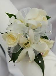 white sweetheart and white orchid corsage white