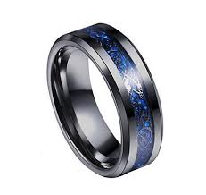 black and blue wedding rings celtic men s black blue ring inlay 8mm titanium black mens