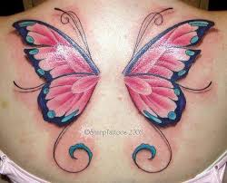 collection of 25 color ink butterfly wings tattoos on back