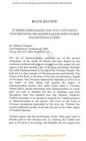 Ottoman Studies by Book Review Turkish Jerusalem 1516 191 7 Ottoman Inscriptions Fro U2026