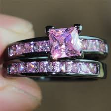 pink and black engagement rings discount pink princess cut engagement rings 2017 pink princess
