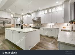 gourmet kitchen island gourmet kitchen features white shaker cabinets stock photo