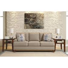 Bench Craft Leather Inc Contemporary Sofa With Exposed Wood Front Rail By Benchcraft