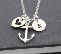 sterling silver personalized jewelry anchor necklace initial necklace sterling silver personalized