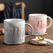 engagement gift from parents mr and mrs couples ceramic coffee mug set unique