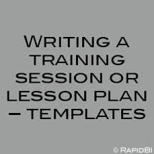 writing a training session or lesson plan