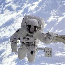 kathryn sullivan smile astronaut michael gernhardt floating above the earth