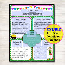 scouts newsletter template instant by tidyladyprintables