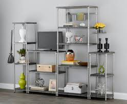 amazon com homezone 5 tier shelf mdf shelf satin nickel finish