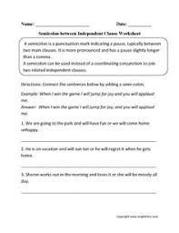 using semicolon in series worksheet worksheet pinterest