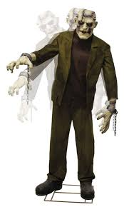 animated props animated 7ft frankenstein with light up and electrodes