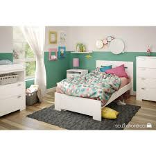 Enigma White Glass Bedroom Furniture South Shore Reevo Twin Wood Kids Platform Bed 10261 The Home Depot