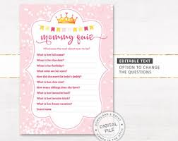 baby shower questions baby shower quiz etsy