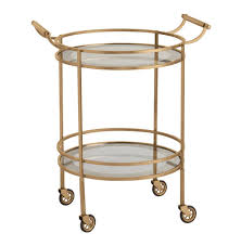 wade contemporary art deco gold glass round bar cart kathy kuo home