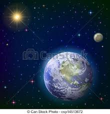 earth moon and sun space background with planet