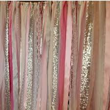 Pink Sparkle Curtains Pink Silver Sparkle Sequin Fabric Backdrop Lace Ribbon Sequin