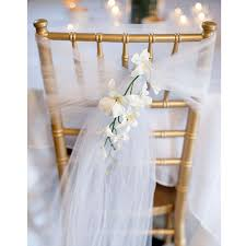 wedding chair sash organza white roll soft sheer wedding chair sash bows wed direct