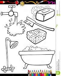 cartoon hygiene objects coloring page royalty free stock