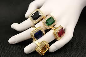 ring for men design big cubic zirconia design 18k gold plated wedding engagement