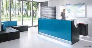 reception desks lina glass desk blue