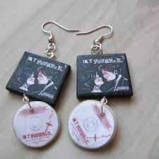 my chemical earrings fangirl book necklace keychain from charmallama on etsy