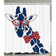 Animal Shower Curtains Giraffe Shower Curtain Wildlife Animal Decor By