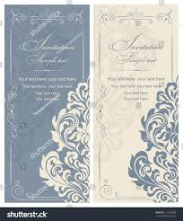 Vintage Invitation Cards Wedding Invitation Cards Baroque Style Blue Stock Vector 115790059
