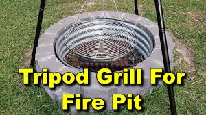 Cooking Over Fire Pit Grill - tripod grill setup for fire pit adjustable pulley system youtube