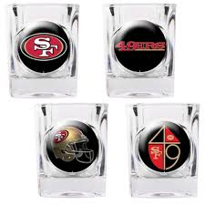francisco 49ers 4 pc square shot glass set